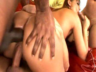 Hot MILF takes 3 big Cocks
