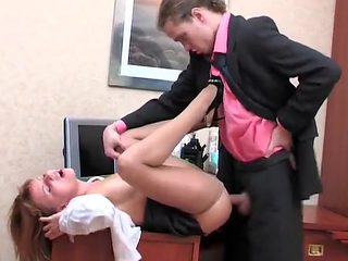 Boss fuck secretary in pantyhose