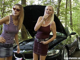 Horny Outdoor fuck with a young Boy and two mature cunts