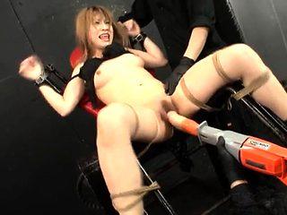 Busty Japanese babe toyed and creamed BDSM style