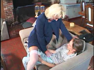 Mature inStockings with a lucky young Guy