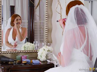 Chubby redhead bride Lennox gets her tasty muff plugged hard