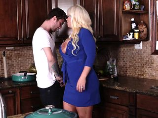 Dolly and mom Alura both fucked in the kitchen