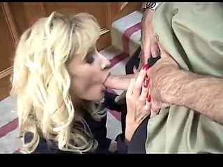 Blonde milf with big tits in threesome anal