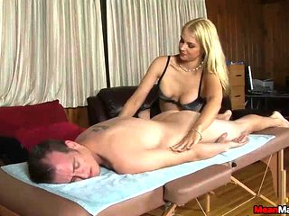 Client Shocks To See The Sexy Blonde Masseuse