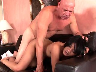 Dirty old man makes love to her wet pussy
