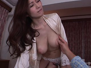 Perfect big natural Asian breasts on a sexy cock rider