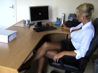 Sexy secretary legs stockings heels