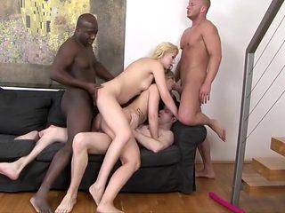 Best pornstars Elena Gilbert, Nicole Diamond and Regine Bardot in horny blowjob, big ass adult scene