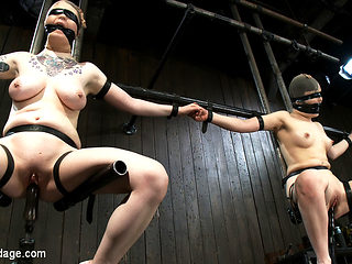Juliette March & Ruby Reaper in Vulnerable pain slut pussy get pulverized by the meanest machines...