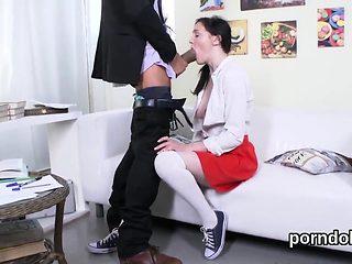 Cuddly schoolgirl gets seduced and plowed by her elderly tea