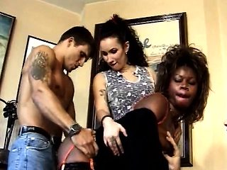 Nasty nude real interracial couple in hot swinging at home