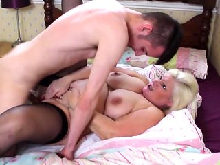 British busty granny suck and fuck young boy