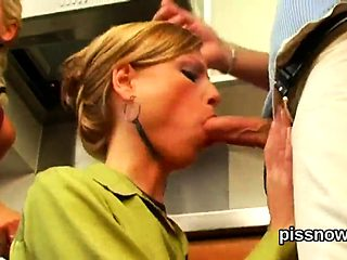 Stunned babe in lingerie is geeting peed on and screwed