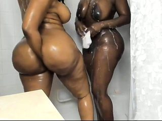 Shower time - 2 Hot Black Beauties Big Boobs & Big Ass