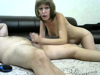 Mature handjob amateur jerking dick