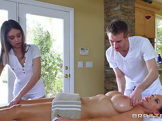 Pair of kinky masseurs bringing a lot of pleasure to their customer