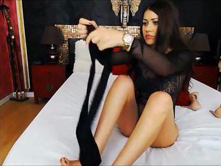 cassandra lick her nylon feet in pantyhose