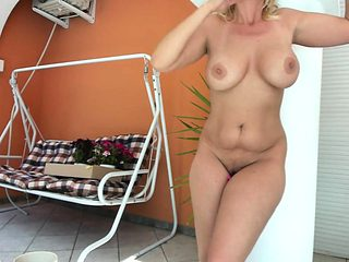 Mature lady in the backjard webcam-Watch Part2 on my website