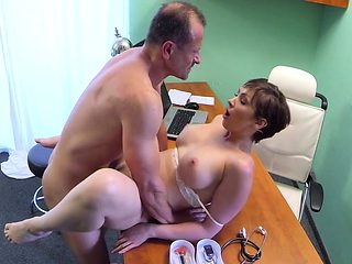 Doctor creampied horny busty milf