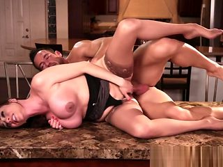 Busty babe pounded on kitchen counter