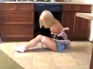 Blonde in kitchen