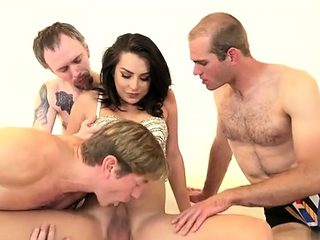 Hot transsexual gangbang with cumshot