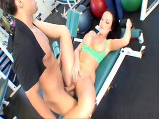busty chick getting fucked hard in the gym