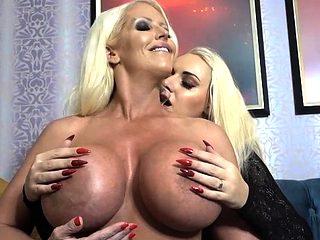 Two Huge Boob Blonde MILF's Lesbian Getaway