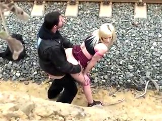 Hot couple voyeur  girl with nice ass and tits  outdoor fuck