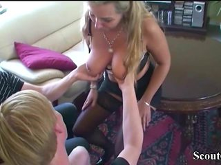 German Mother Fucks Step-Son and his School Friend