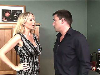Julia Ann gets her hands on a younger office worker during working time and seduces him