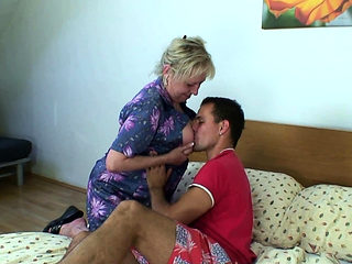 Picked up busty old granny rides his horny cock