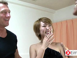 Double white big cock for a naive Japanese girl. brutal sex