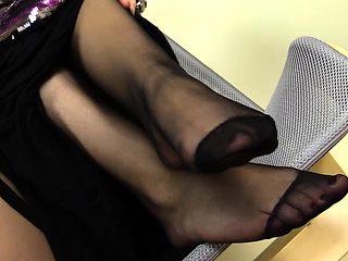Stunning girl rocks a nylon stocking
