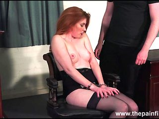 Redhead submissive Ellarnas spanking and erotic domiation of sexy masochist in bdsm and kinky fetish games