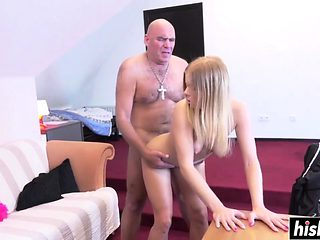 Slim blonde rides a long pecker