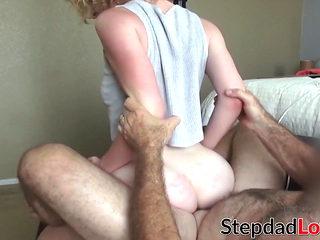 Cute stepdaughter deepthroats dick before being hammered