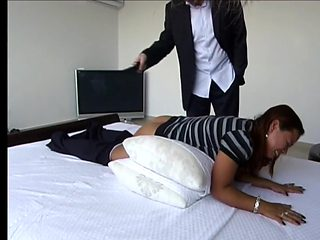 GBS Martha belt spanked on her barebottom for not following directions
