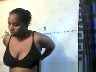 Big tits ebony chick out of shower