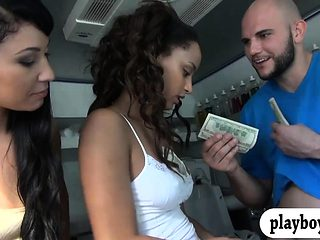 Brunette hottie gets banged by bald dude for some cash