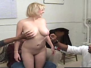 Blonde with big tits roughly gangbanged in interracial porn