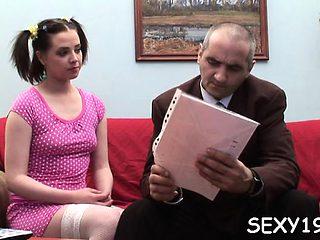 Enjoyable darling opens her slit for teacher's hard drilling