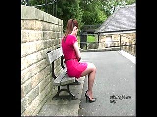 Curvy brunette stiletto girl Sara teasing in nylon stilettos