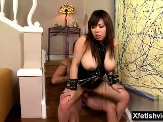Asian pornstar peeing with cum in mouth