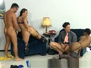 Passionate Foursome With A Nice Ebony Goddess