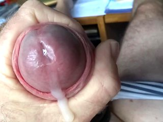 Panty cock ring wank slow motion