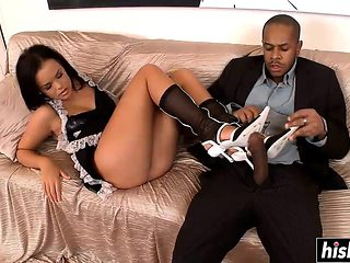 Sexy maid rides a big dick