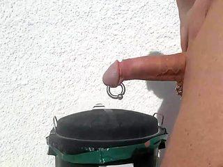 Walking pierced cock