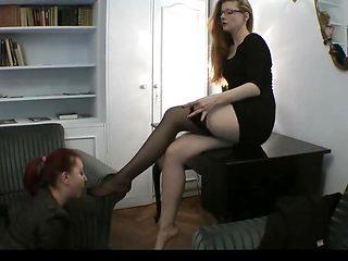 Girl worships her mistress  sexy feet